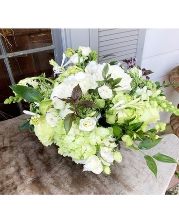 Chartreuse and ivory Flower Arrangement