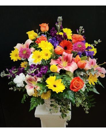 Sunny Garden Basket Flower Arrangement
