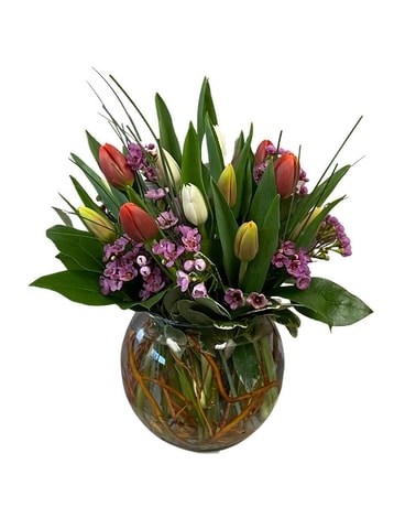 Tulip Bowl Flower Arrangement