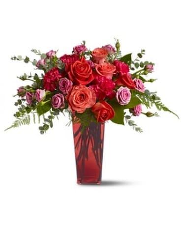 Hearts Afire Flower Arrangement