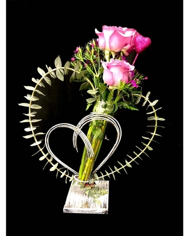 Two Hearts Beat As One Flower Arrangement