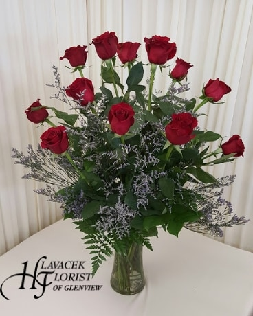Dozen red roses vased Flower Arrangement
