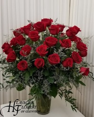 36 Red Roses Vased Flower Arrangement
