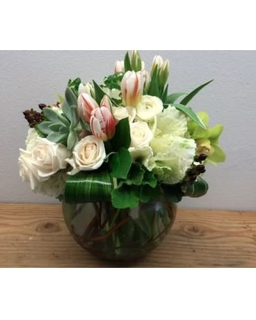 Succulents, Tulips, And Roses Flower Arrangement