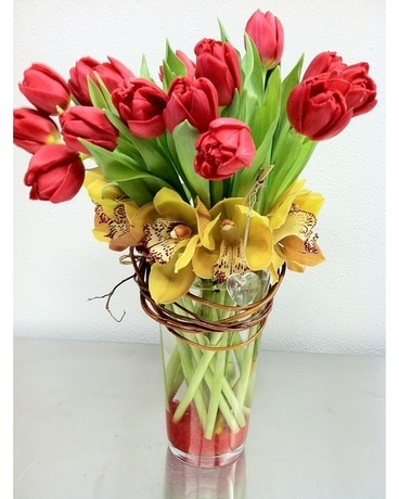 Romantic Tulip Arrangement Flower Arrangement