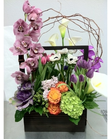 Modern Spring Flower Box Flower Arrangement