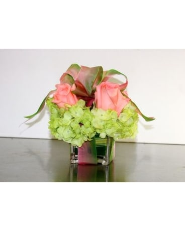 Pink Roses And Greens Flower Arrangement
