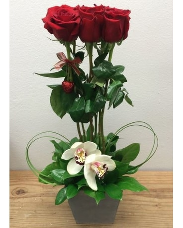 Valentine's Day Roses And Orchids Flower Arrangement
