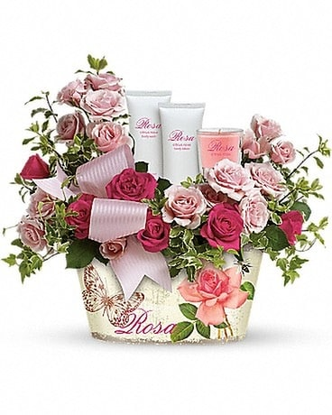 Teleflora's Everything Rosy Gift Set Flower Arrangement