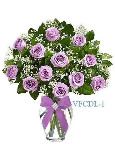 Classic Dozen Purple Roses Flower Arrangement
