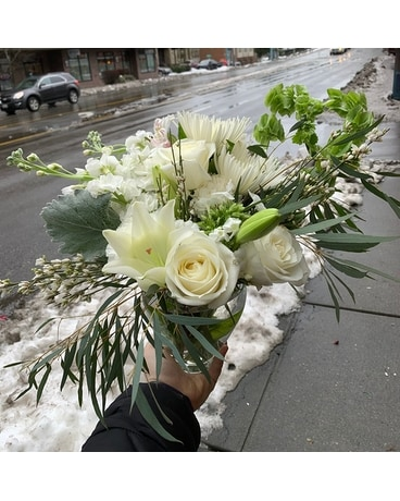 All-White Designer's Choice Flower Arrangement