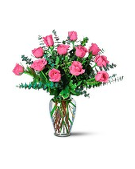 Pink Roses with Eucalyptus Flower Arrangement