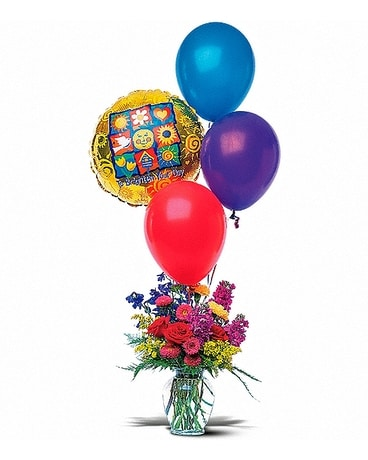 Balloons and a Boost Flower Arrangement