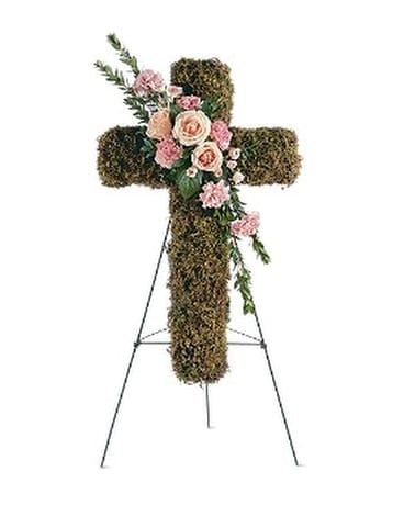 Pink Bouquet Cross Flower Arrangement
