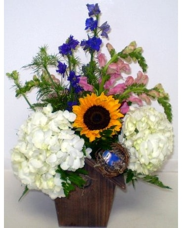 Spring Bird House Flower Arrangement