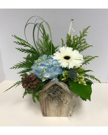 Winter Birdhouse Flower Arrangement