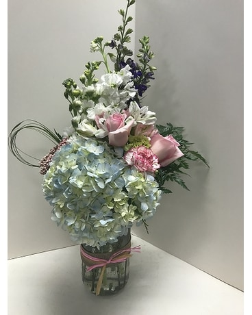 Mason Valentine Flower Arrangement