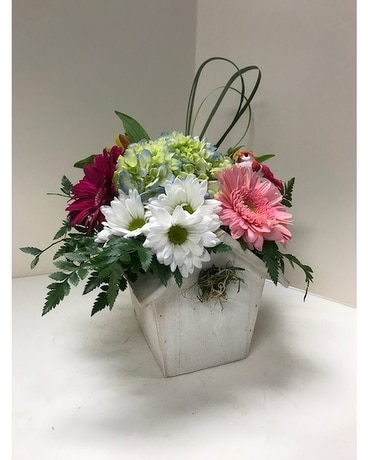 Summer Bird House Flower Arrangement