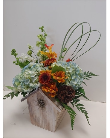 Winter Birding Flower Arrangement