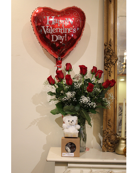Roses + Bear + Balloon + Cookies
