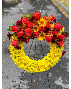 Autumn Memory Wreath Funeral Arrangement