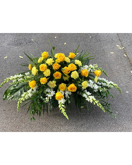 Golden Remembrance Funeral Casket Spray Flowers