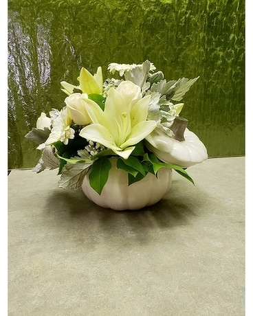 Festive White Pumpkin Flower Arrangement