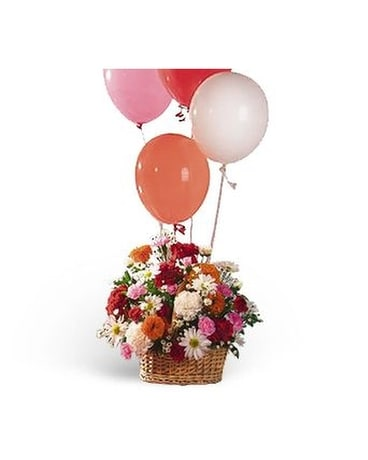 Soaring Balloons and Blooms Flower Arrangement