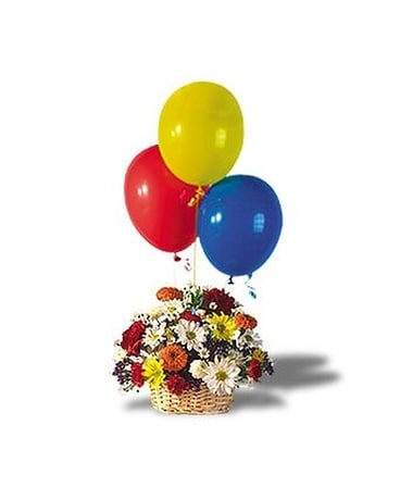 Balloons and Blossoms Basket Flower Arrangement