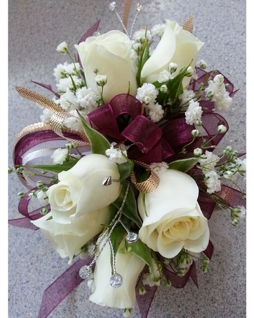 Burgundy Corsage Flower Arrangement