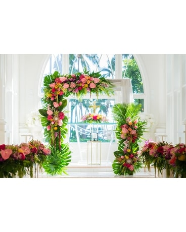 Tropical Arbor and aisle arrangements Wedding Arrangement