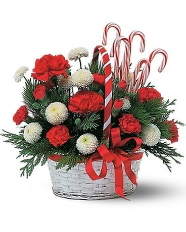 Candy Cane Basket Flower Arrangement