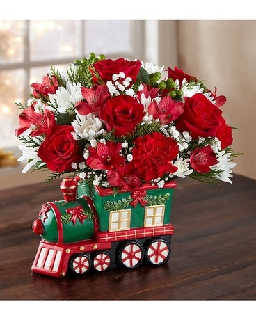 Holly Train Flower Arrangement