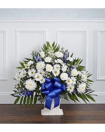 Blue and White Sympathy Floor Basket Flower Arrangement