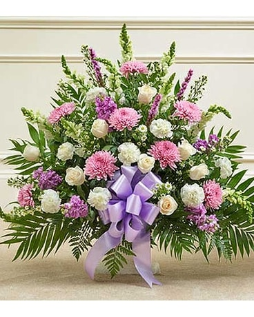 Lavender and White Sympathy Floor Basket Flower Arrangement