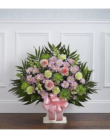Pastel Sympathy Floor Basket Flower Arrangement