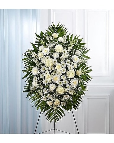 White Sympathy Standing Spray Flower Arrangement