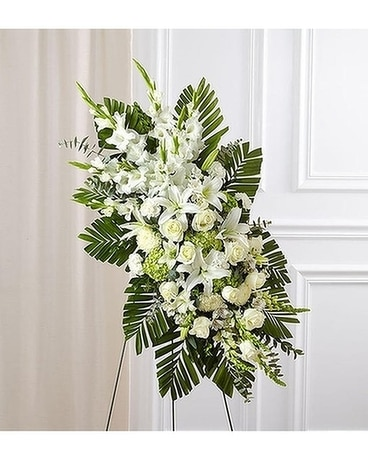 White Rose and Lily Standing Spray Flower Arrangement