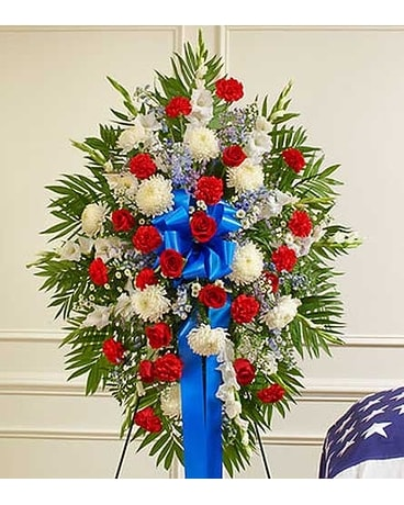 Red, White and Blue Sympathy Standing Spray Flower Arrangement
