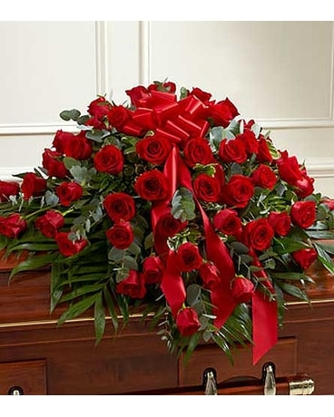 Red Rose Half Casket Cover Flower Arrangement