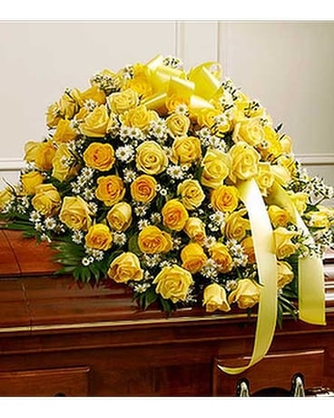 Yellow and White Rose Half Casket Cover Flower Arrangement