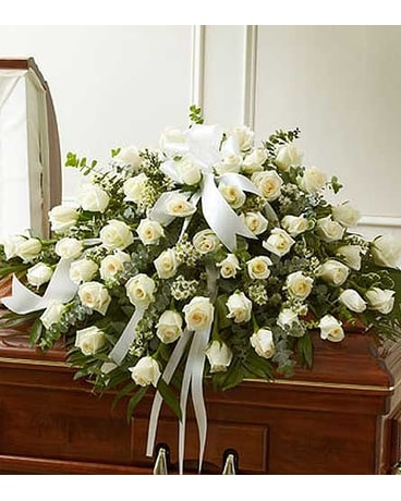 White Rose Half Casket Cover Flower Arrangement