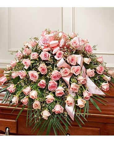 Pink Rose Half Casket Cover Flower Arrangement