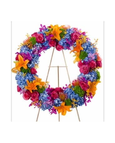 Radiance- Bright Wreath Flower Spray Flower Arrangement
