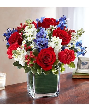 Healing Tears™ Red, White & Blue Flower Arrangement