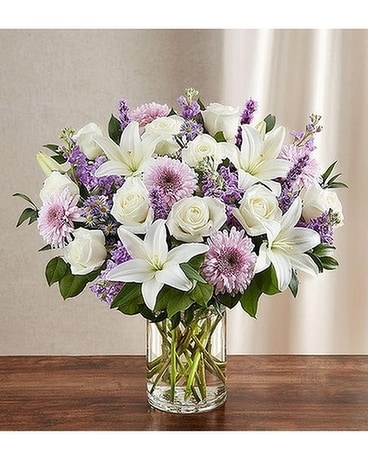 Sincerest Sorrow™ Lavender & White Flower Arrangement