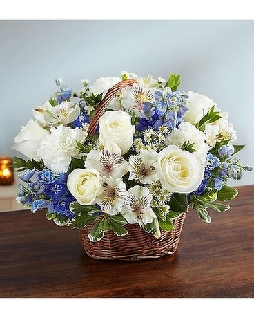 Peace, Prayers & Blessings™ Blue & White Flower Arrangement