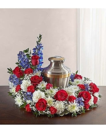 Cremation Wreath - Red, White & Blue Flower Arrangement