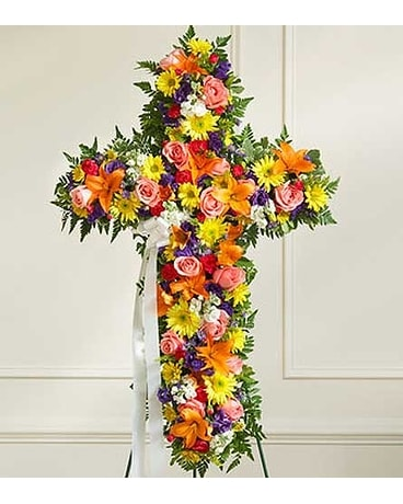 Multicolor Bright Mixed Flower Standing Cross Flower Arrangement