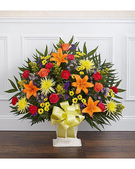 Multicolor Bright Sympathy Floor Basket Flower Arrangement